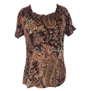 Ralph Lauren Brown Paisley Short Sleeve Top Medium